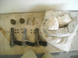 20 kilogrammes of explosives, two hand grenades and three TT pistols along with bullets was recovered during the raid from possession of the militants.